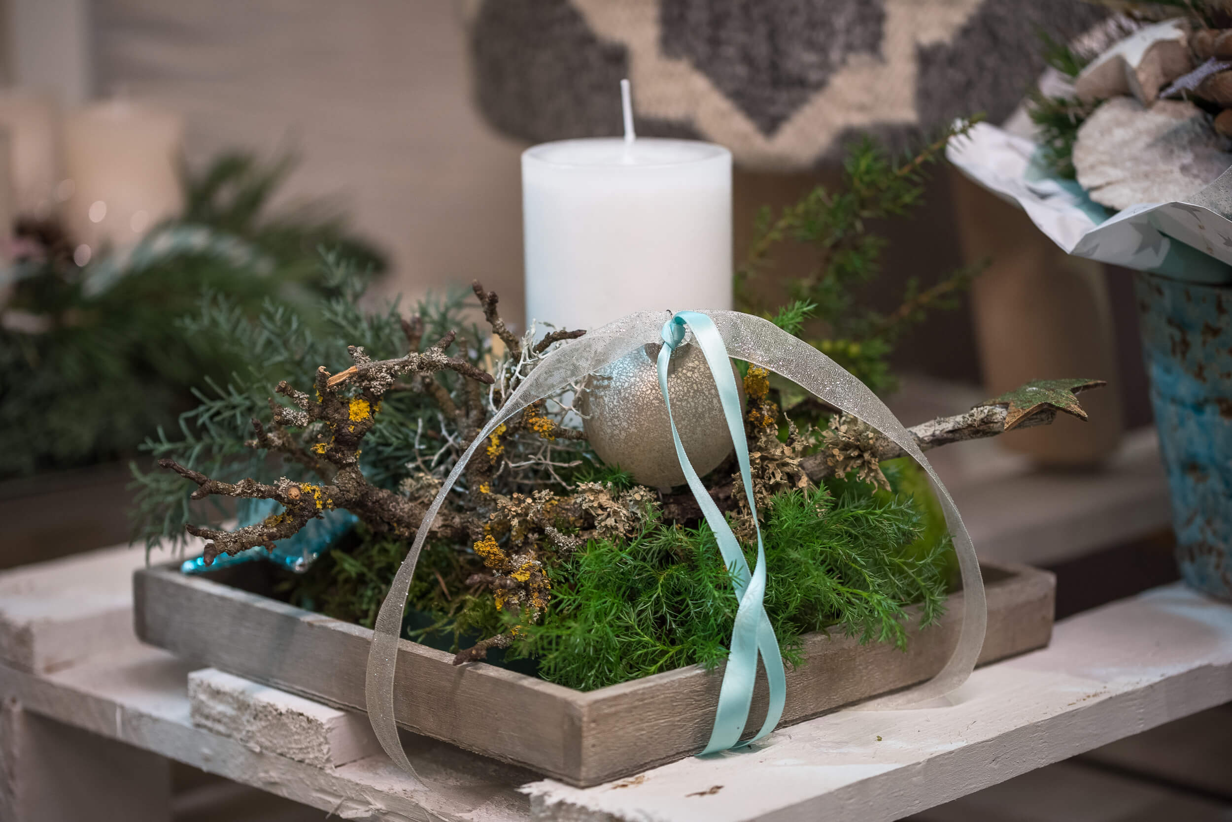Weisse Advent Kerze